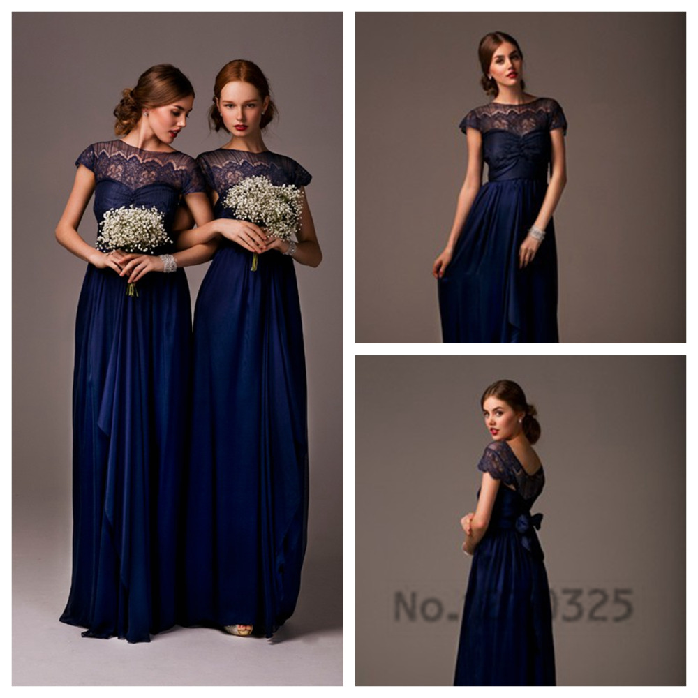 Compare prices on navy blue long bridesmaid dress online shopping robe demoiselle dhonneur 2017 new lacecap sleeves a line navy blue bridesmaid dresses long ombrellifo Image collections