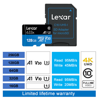 free shiping Original Lexar micro sd 32gb C10 16GB microsd Max 95M/s 64GB Memory Card Class10 128gb tarjeta sd tf Card