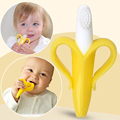 Environmentally Safe Banana Teething Toothbrush infant baby teether stick chews Silicone Toothbrush Teething Rings oral hygiene