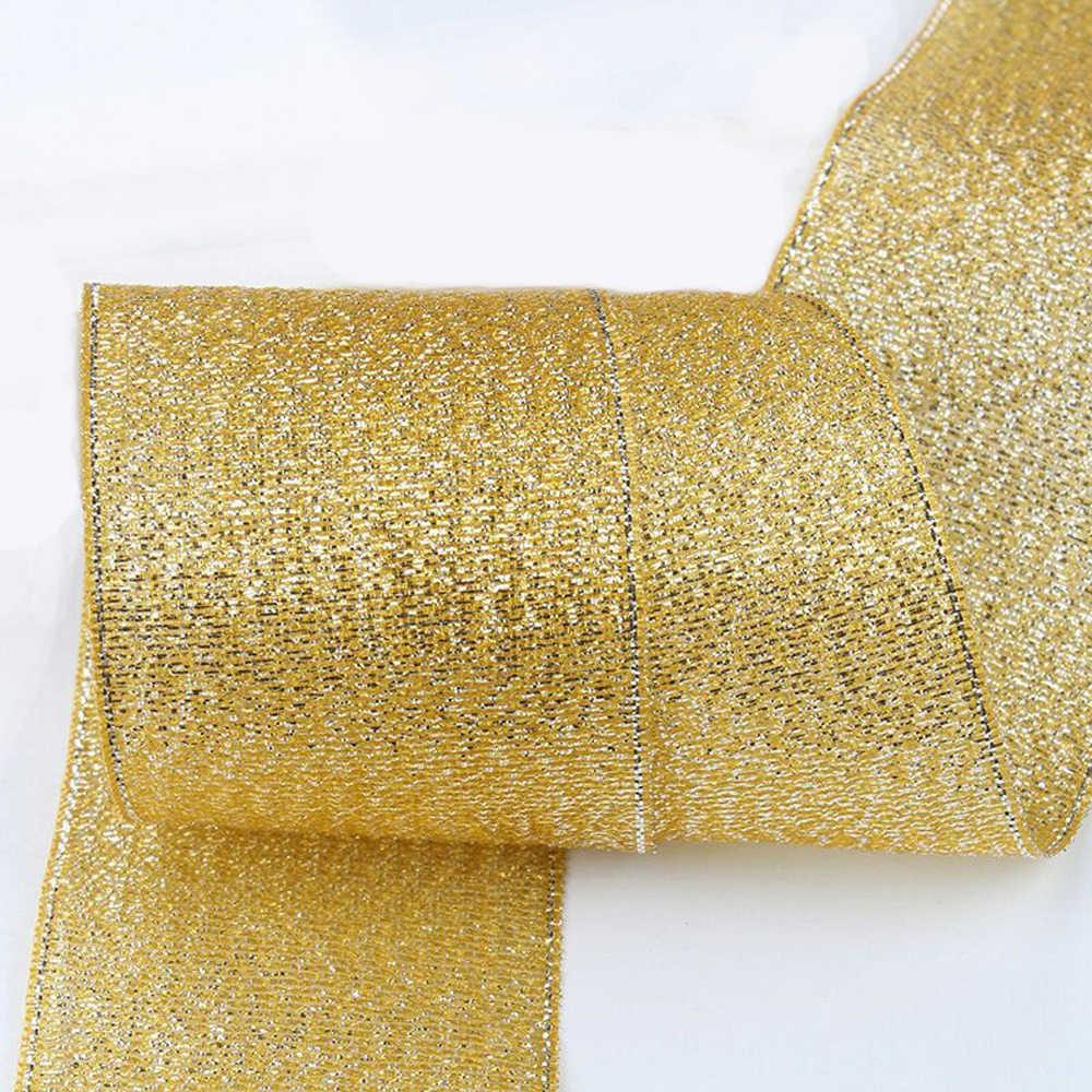 6 10 15 20 25 38 มม.ใหม่ silver gold ribbon Organza 25 หลา DIY hand-made ของขวัญห่อคริสต์มาสตกแต่งปีใหม่