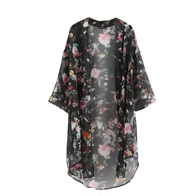 2018 New Arrival Summer Sunproof Cardigan Fashion Women printing Chiffon Bikini Cover Up Kimono Cardigan Coat 2 Colors camisa