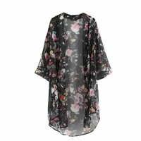 2018 nueva llegada verano cárdigan a prueba de sol moda mujer impresión chifón Bikini cubrir Kimono Cardigan abrigo 2 colores camisa