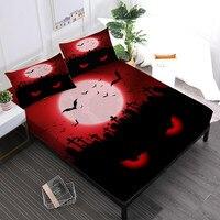 Scarlet Moon Night Sheet Set Horrible Eye Print Fitted Sheet Bed Linens Flat Sheet Pillowcase Halloween Bedding Set D20