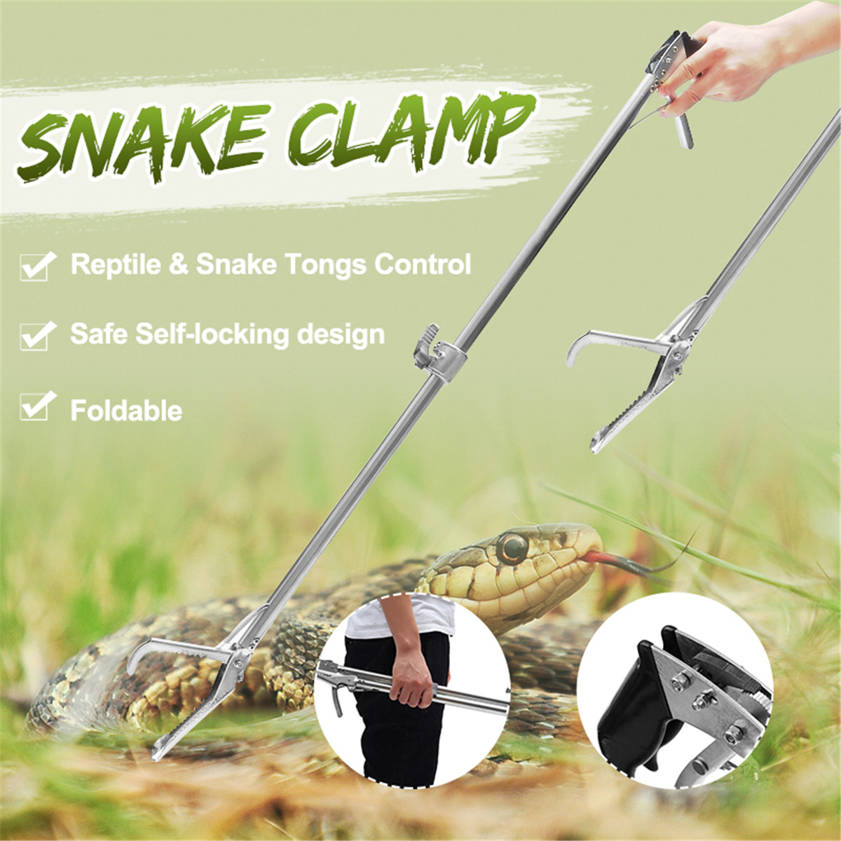 120/100/75CM Foldable Self Locking Reptile Snake Catcher Tongs Stick Grabber Wide Jaw Tool Heavy Duty Pest Control Products