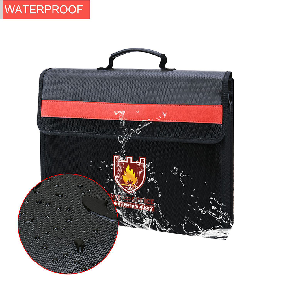 Fireproof Money Cash Document File Bag Waterproof Safe Storage Case With Handle