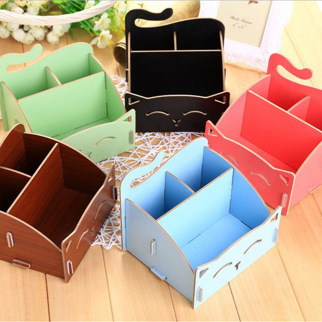 Wooden Storage Box For Jewelry Organizer For Cosmetics Cute Cat