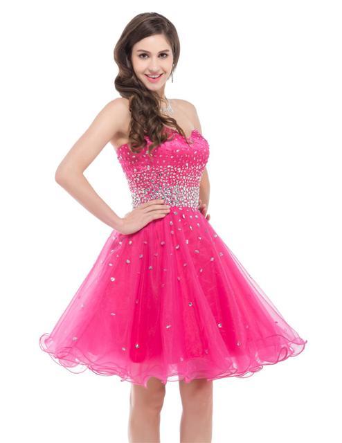Grace Karin Stock Fuchsia Pink Organza Short Cheap Bridesmaid ...