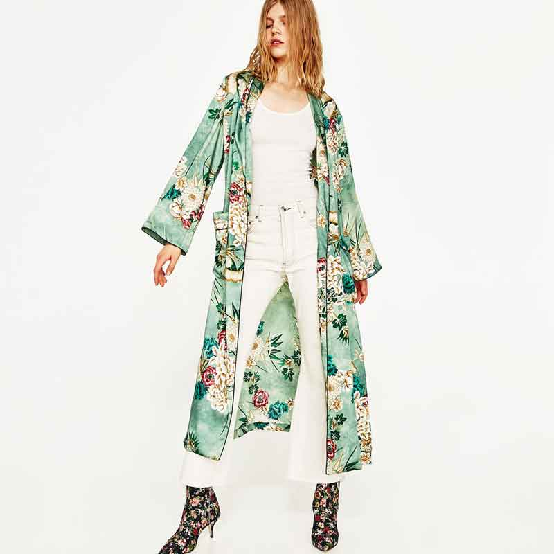 Japanese Kimono Cardigan Women 2017 Fashion Street Wear Green Floral Print Costumes Kimono Jacket Beach Casual Long Blouse Shirt