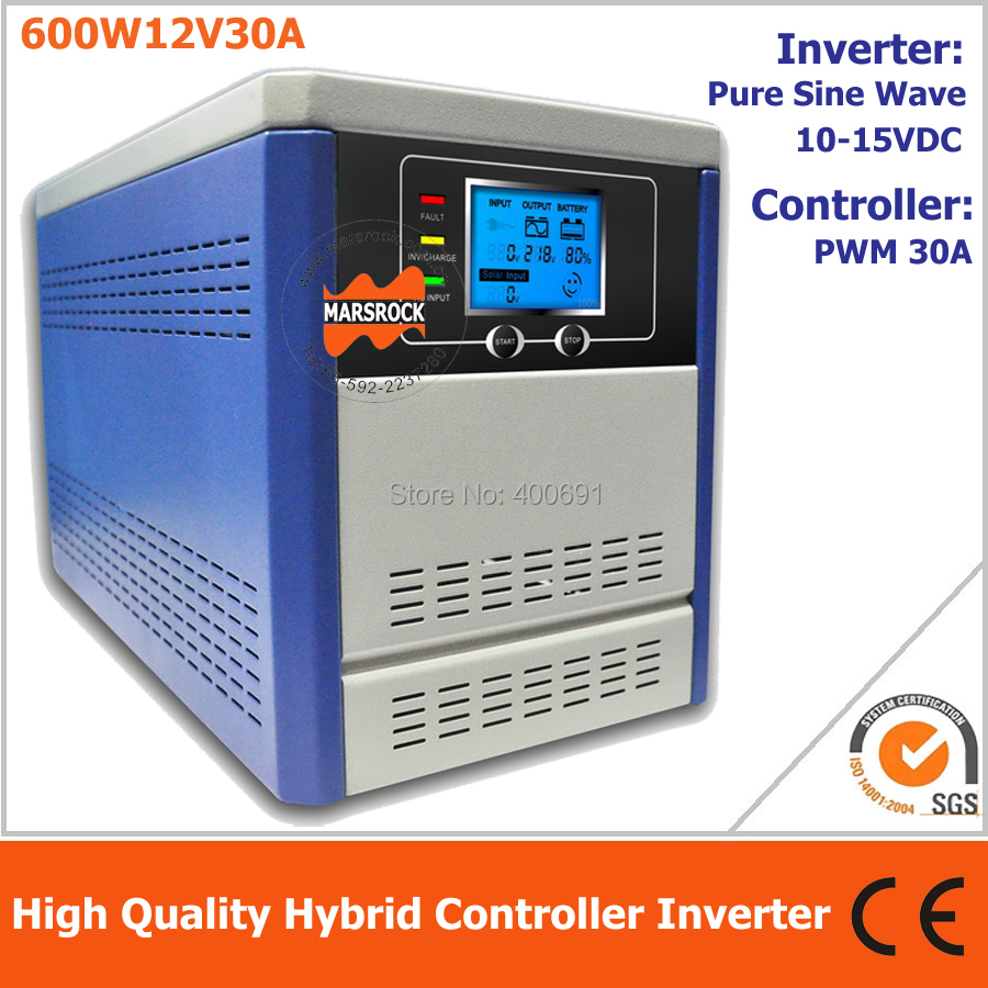 Hybrid controller inverter for off grid solar power system, 600W 12V pure sine wave inverter integrated with 30A PWM controller 5pcs lot isl6315crz 63 15crz two phase multiphase buck pwm controller with mosfet drivers integrated no droop