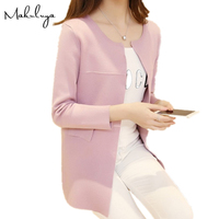 2016 New Spring Sweater Dress Korean Thin Cardigan Sweater Loose And Long Sleeve Female In The