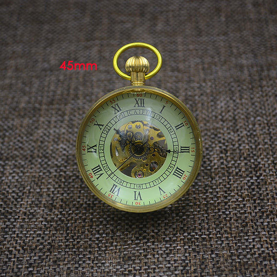 Fashion Glass Ball Pocket Watch Old Vintage Retro Crystal Mechanical Fob Watches New Bronze Standing Father Gift Grandpa Funny