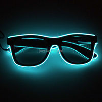 Fashion Glowing Party Props DC 3V Steady on Inverter EL Wire Glowing Glasses with dark lens 10pieces Holiday Lighting Favors