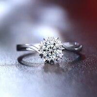 애니 18 천개 화이트 골드 (AU750) 여성 결혼 반지 0.2 캐럿 인증/SI 다이아몬드 심장 모양 구 트위스트 디자인 약혼 반지