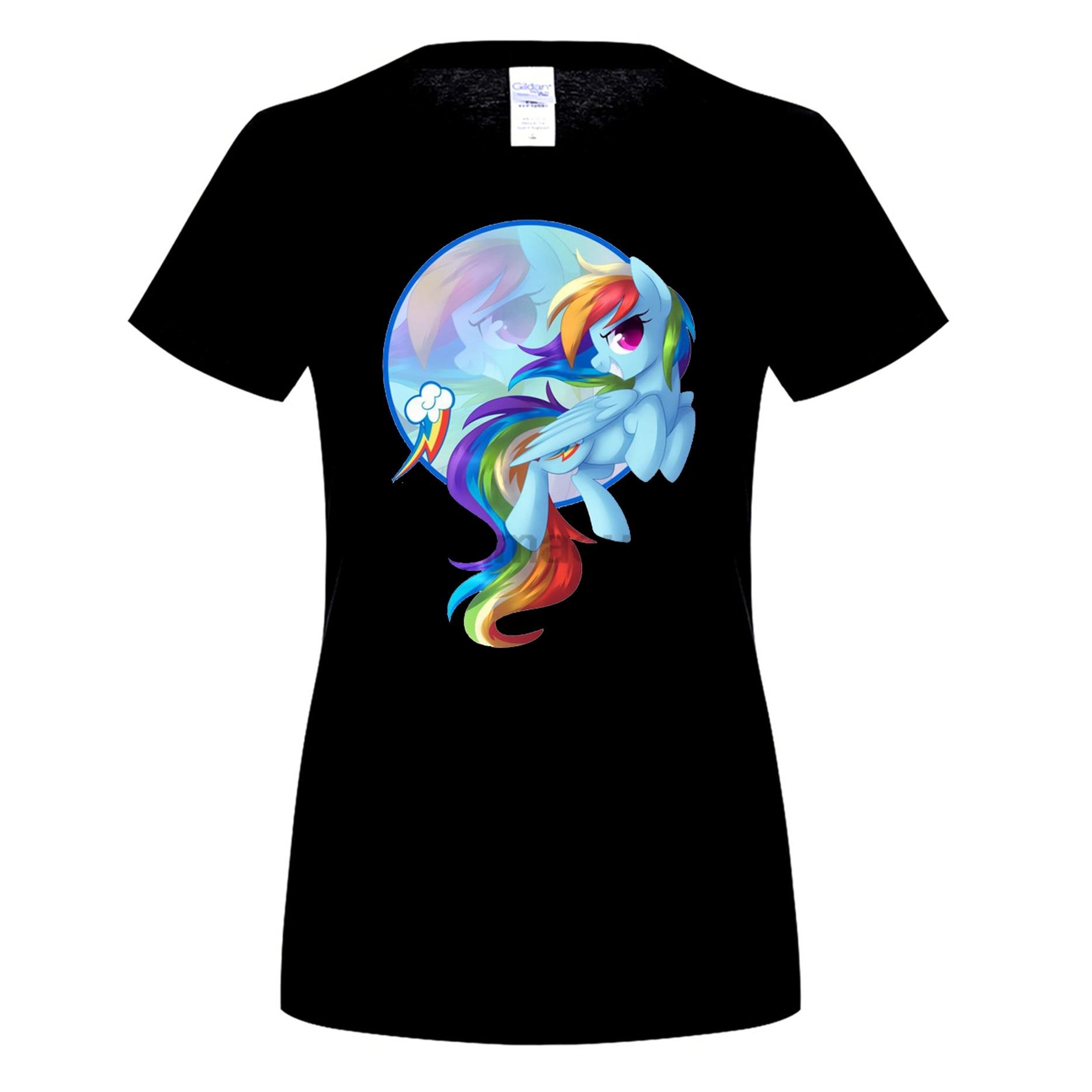 GILDAN cotton O-neck printed T-shirt Rainbow Dash T-Shirt for woman