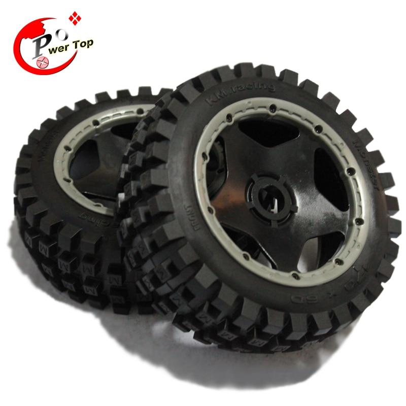 King Motor Baja Monster tire front completed set with black rim for HPI BAJA 5B Parts