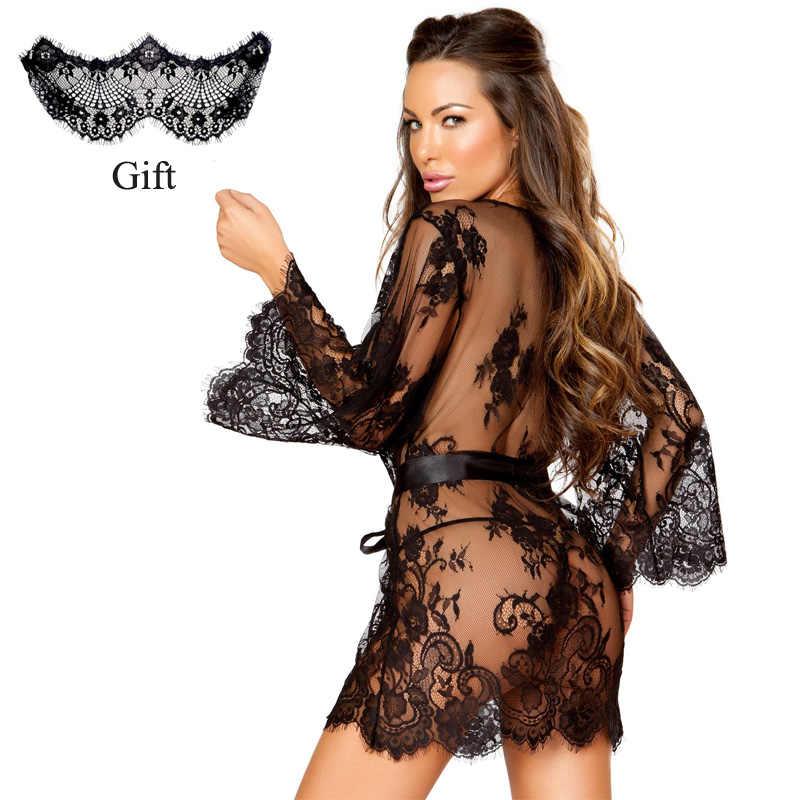 308c8afad9c ... Sexy Lingerie Dress Lace Babydoll Women Floral Robe See Through Kimono  Eyelash Nightgown