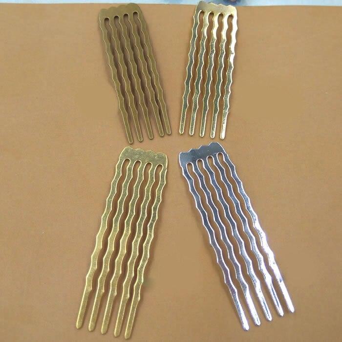 10 Teile/los 5 Zähne Kamm Haarschmuck Charme Frauen Gold/silber überzogene Haare Kämmen Haare Erkenntnisse Haarspangen Retro Headwear Großhandel