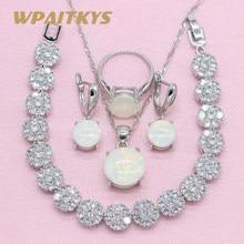 15e6665f9185 Estilo Simple redondo blanco crear ópalo 925 Plata joyería conjuntos para  mujeres collar pendientes anillo pulsera caja libre WP.