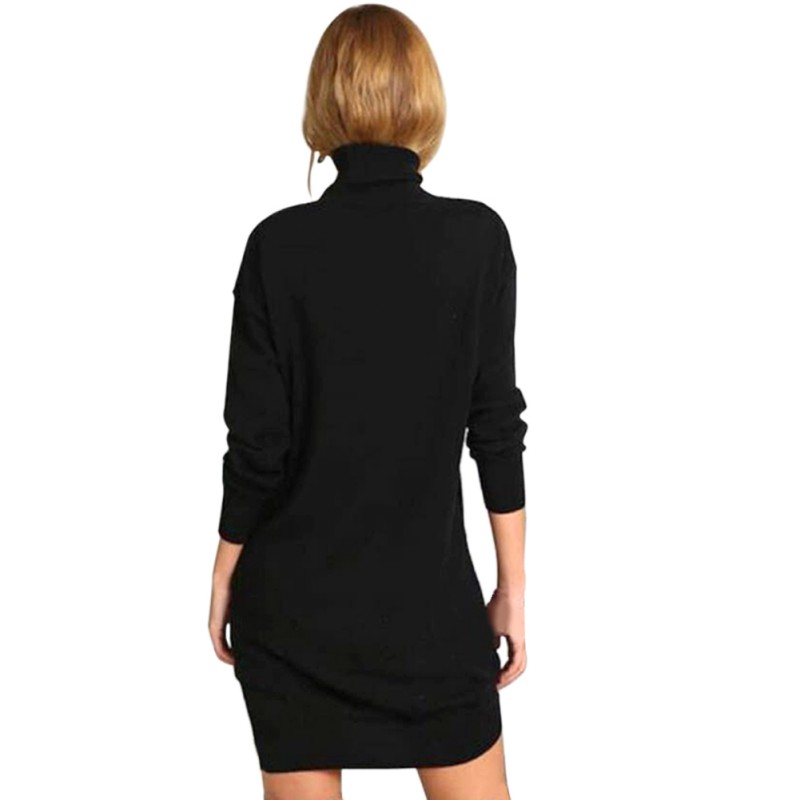 Hot Product Autumn Winter Warm Stretch Dresses Long Sleeve Knit BodyCon Slim Sweater Dress Black Fashion V2 A7 Karachi