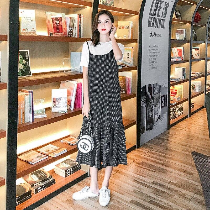 2019 della Molla di Alta qualità Lungo Pieghettato vestito da Estate Casual Delle Donne A Vita Alta Elascity