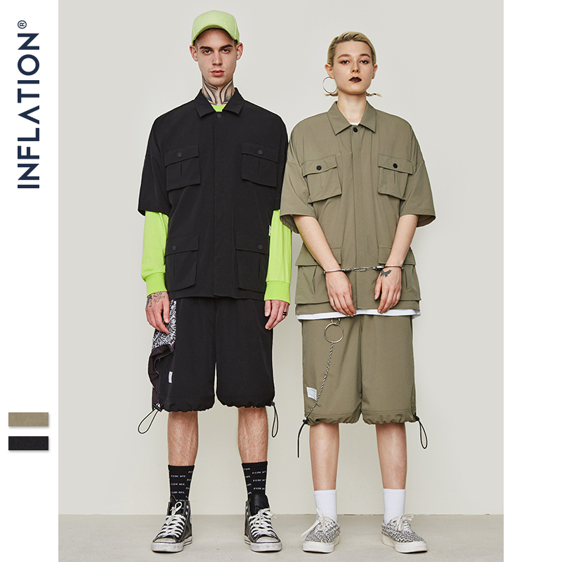 INFLATION Multi pocket Casual Shirt Oversize Short Sleeve Shirt  Mens Dress Shirts Brand Casual Fashion Hip hop Style Shirt 9212SCasual  Shirts