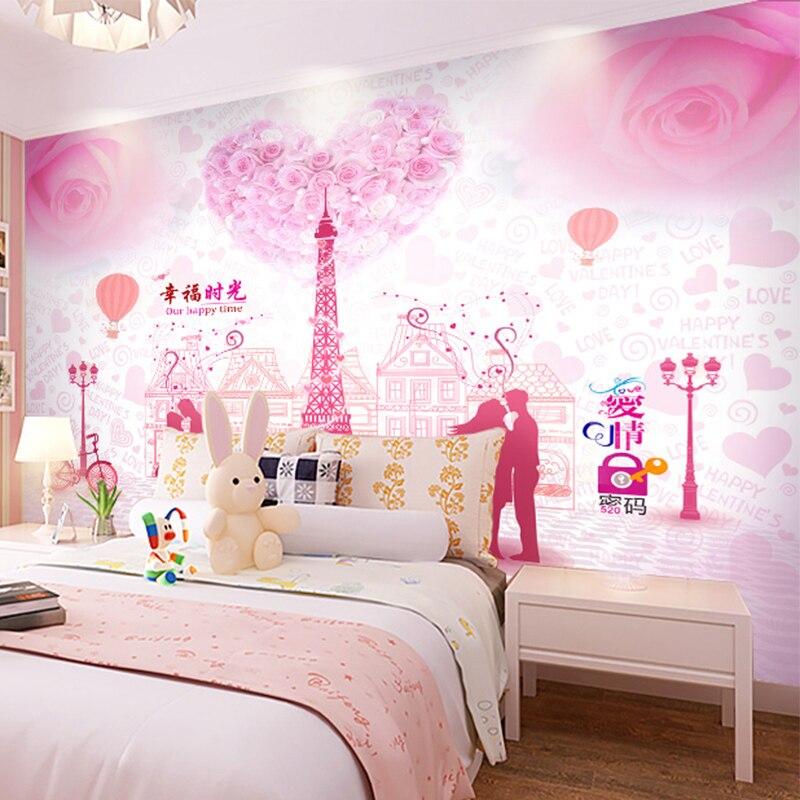 US $11.46 30% OFF|Aliexpress.com : Buy custom mural pink Romantic couple 3D  wallpaper mural hotel restaurant hotel bedroom sofa wedding room TV paper  ...