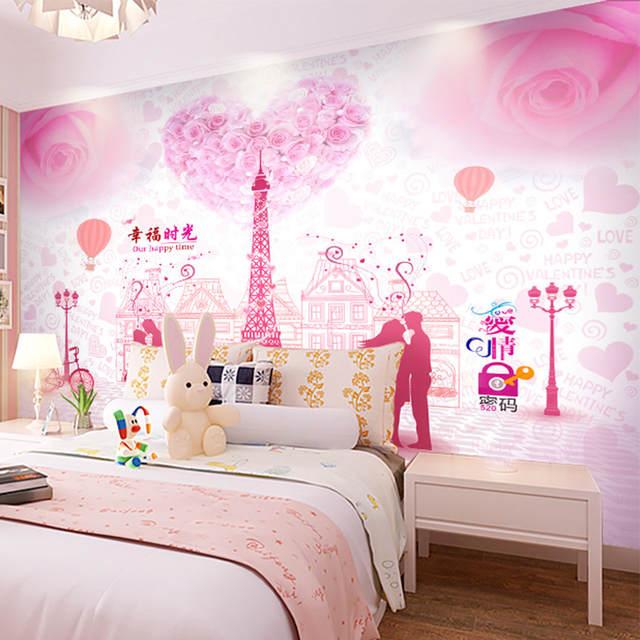 Online Shop custom mural pink Romantic couple 3D wallpaper mural ...