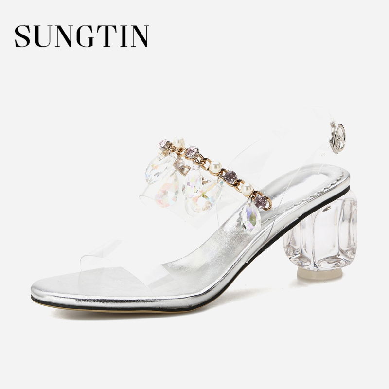Sungtin Sexy Chic Transparent High Heels Women Rhinestone Block Heel Sandals  Ladies Handmade Party Wedding Shoes 2018 Summer-in Middle Heels from Shoes  on ... 8b8c96a27a0b