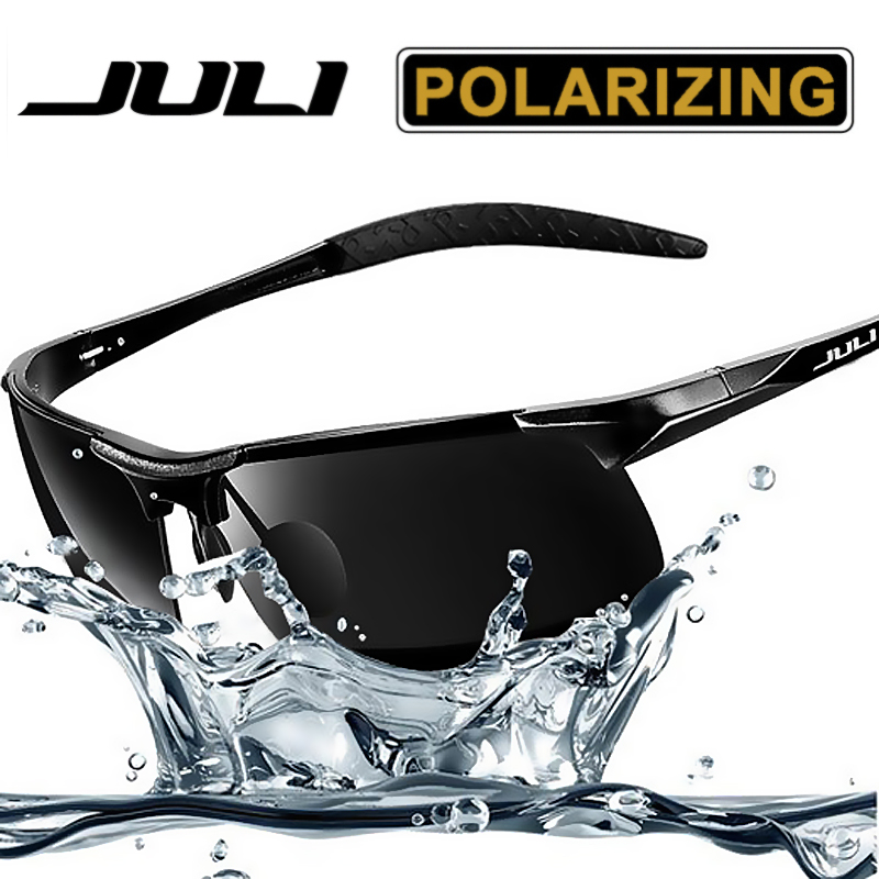 JULI Men's Sports Style Polarized Sunglasses For Men Travel Oculos Driving Golf Unbreakable Alumin magnesium Metal Frame Glasses