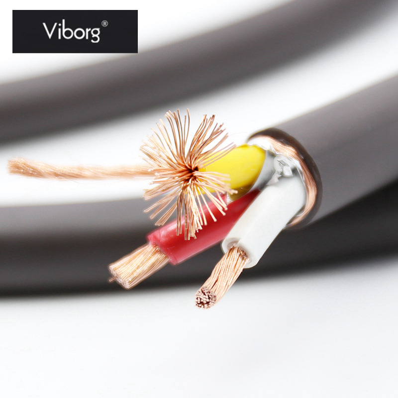 Viborg VP1606 Speaker Audio Cable 5N OFC RISR 6MM^2 Wire Core AC Power Cable Shielding HIFI Audio Grade DIY For Top Speaker