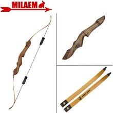 1 juego 60 pulgadas 20 55lbs arco recurvo estabilizador de tiro con arco de caza americano mango de madera Riser tiro accesorios de caza