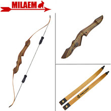 1Set 60inch 20-55lbs Archery Recurve Bow With Stabilizer American Hunting Bow Wooden Handle Riser Shooting Hunting Accessories
