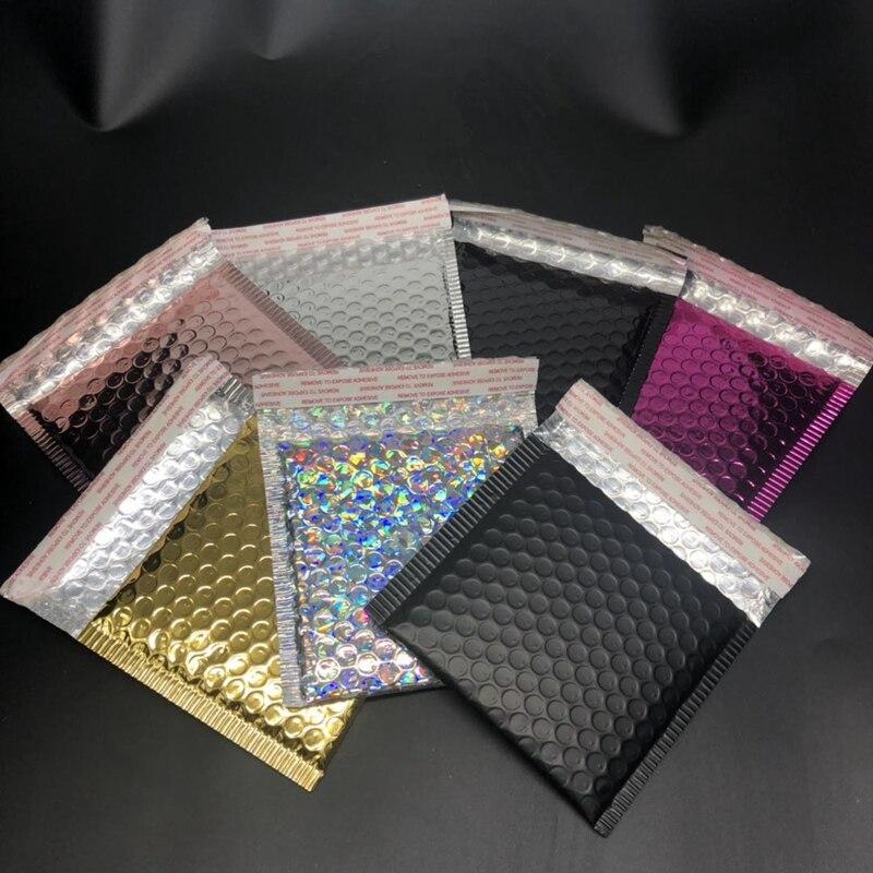 5pcs/lot Gold Foil Plastic Padded Bubble Envelopes Bags Mailers Envelope With Bubble Mailing Bag Business Supplies 15*13cm+4cm