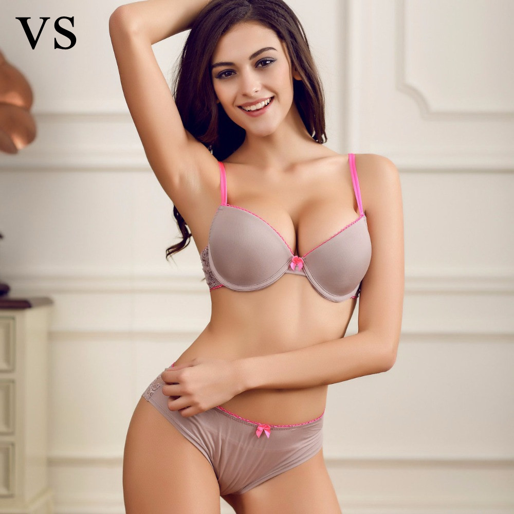 New 2016 Brand Underwear Vs Women Seamless Bra Set Female Sexy Bra And Panty Set Plus Size Fashion Push Up Bra Lingerie Set B303
