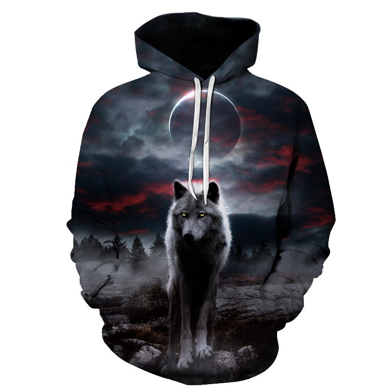 3D Printed Wolf Women/Men Sweatshirt Hoodies Night Moon Front Pocket Loose Hooded Hoodies Long Sleeve Unisex Hoodies 2018