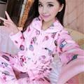 2017 Nueva Otoño/invierno pijamas de franela engrosamiento de las mujeres ropa de noche fija dulce muchacha de la impresión Floral Ropa Interior Traje de Casa