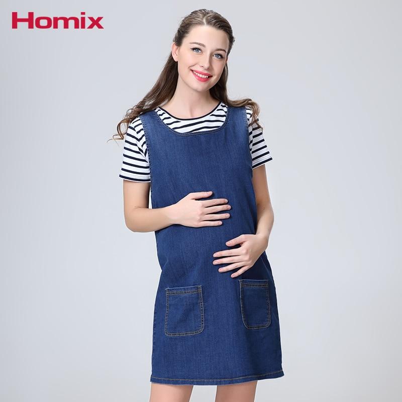 Homix Maternity Denim Pinafore Dresses Pragnacy Clothes Pregnant Women Clothing