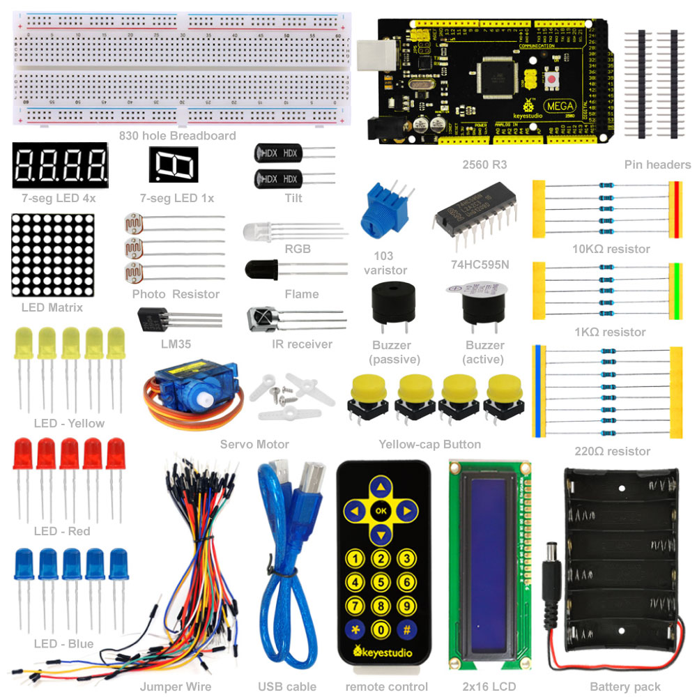 Free shipping! New! Keyestuio Basic Starter Learning Kit for Arduino With MEGA2560 R3 1602 LCD