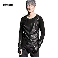 Men Leather Splice T Shirt Punk Gothic Style Tees Shirts Male Fashion Long Sleeve Slim Fit