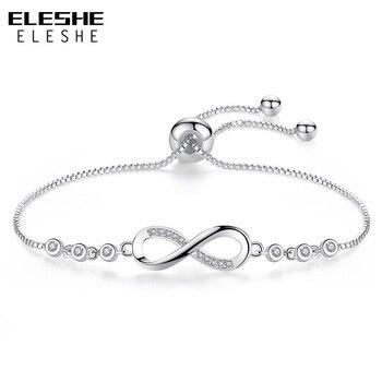 1bd91d97400d ELESHE 2018 nueva moda CZ cristal infinito pulsera de plata cadena  ajustable de las mujeres pulseras del encanto de la joyería