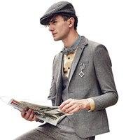 men blazer slim fit retro grey brown men clothes 2018 mens blazer jacket full sleeve single breasted autumn winter wedding groom