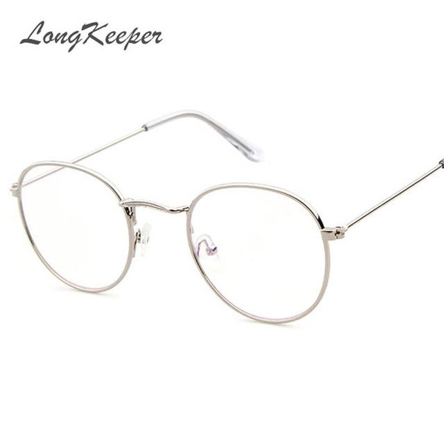 f6f64fc85c LongKeeper Korean Glasses Frame Retro Gold Eyeglass Frame Spectacles Round  Computer Glasses Unisex NO Degrees 3447E