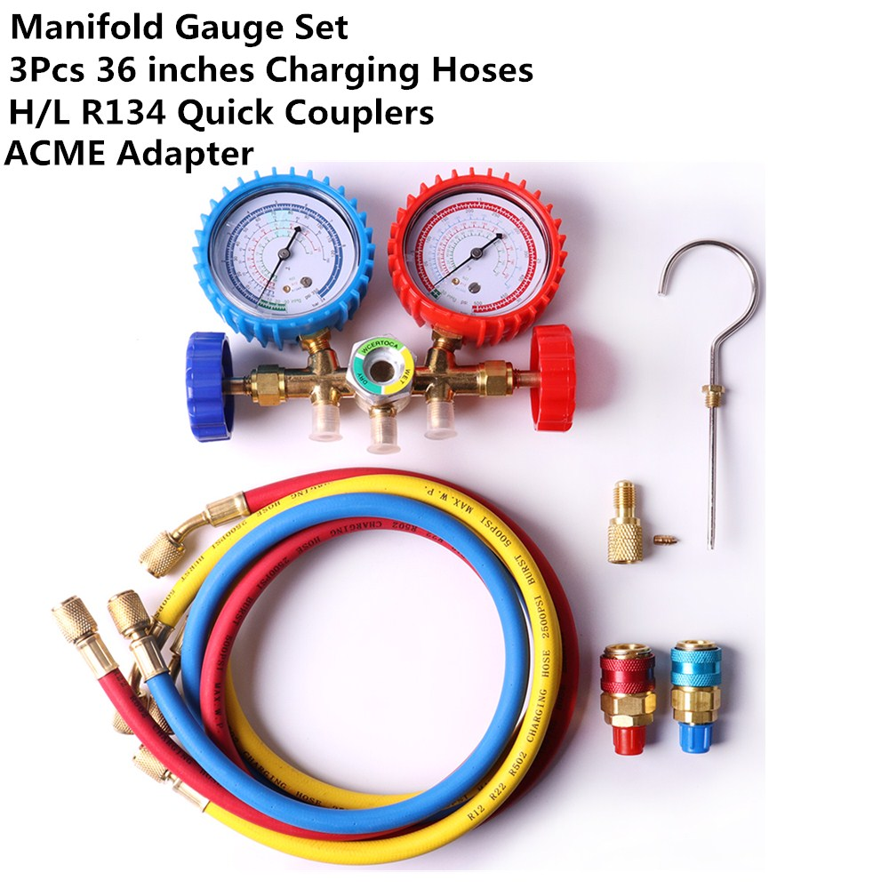 AC Manifold Gauge Set R134A R410a R134 Air Conditioning A//C Refrigeration Kit US