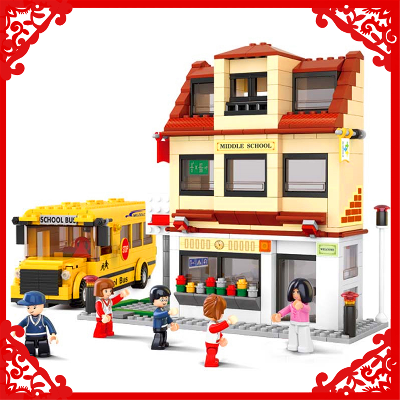 Sluban 0333 City School Bus Building Block 496Pcs DIY Educational  Toys For Children Compatible Legoe sluban 2500 block vehicle maintenance repair station 414pcs diy educational building toys for children compatible legoe
