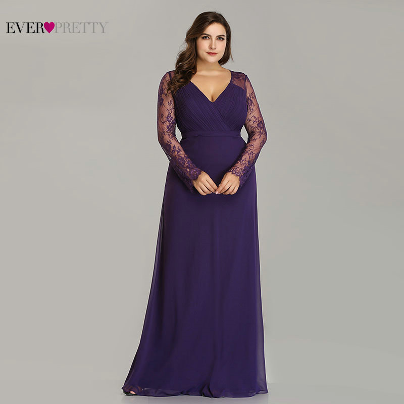 Robe De Soiree 2019 New Ever Pretty Purple Long Sleeve Lace A-line Chiffon Long Party Gowns Elegant Plus Size Evening Dresses