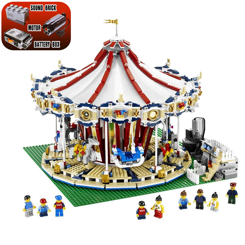 Lepin 15013 3263Pcs City Sreet View Carousel Model Compatible legoing 10196 Educational Building Blocks Kits Toys For Children lepin 15013 city street carousel model building kits assembling blocks toy legoing 10196 educational merry go round gifts