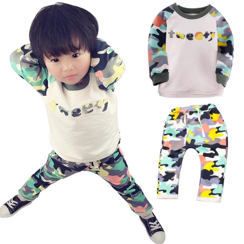 Children sets for Girls  Kids Clothes Sets Fashion Camouflage Hooded Set for Boys Outfit Toddler Baby Suit 1 to 5 Years 2015 new arrive super league christmas outfit pajamas for boys kids children suit st 004