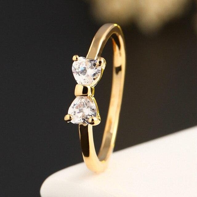 Austrian Crystal Ring Gold Finger Bow Ring Wedding Engagement Zircon