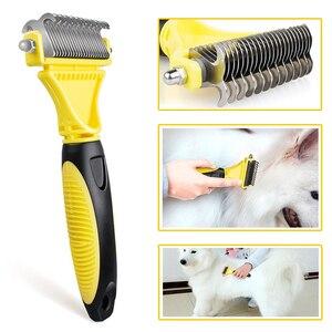 Image 1 - Hswll novo inoxidável dupla face pet gato cão pente escova profissional grande cães aberto nó ancinho faca pet grooming produtos