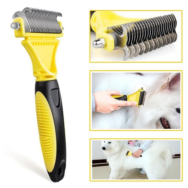 Hswll novo inoxidável dupla face pet gato cão pente escova profissional grande cães aberto nó ancinho faca pet grooming produtos